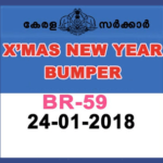 Christmas New Year Bumper BR 59 [2017-2018] Kerala Lottery Results: 24.01.2018