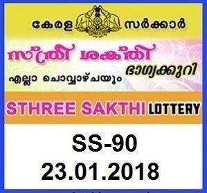 Sthree Sakthi SS 90 Kerala Lottery Result 23.01.2018