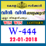 Win Win Kerala Lottery W 444 Results: 22.01.2018
