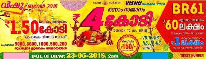 BR 61 Vishu Bumper 2018 Kerala Lottery